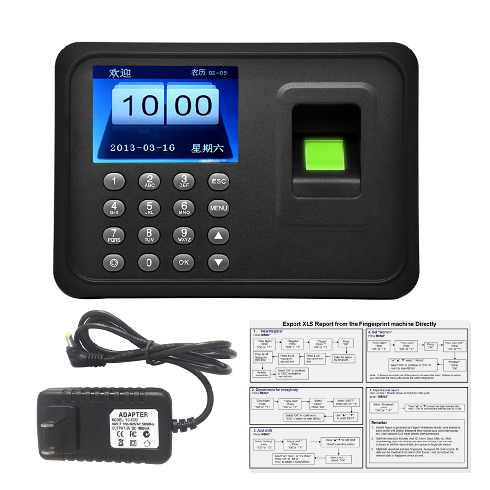 Fingerprint & Password Biometric A6 2.4 Inch TFT USB 32bit CPU Fingerprint Time Attendance Machine Clock Record NoNeed Software