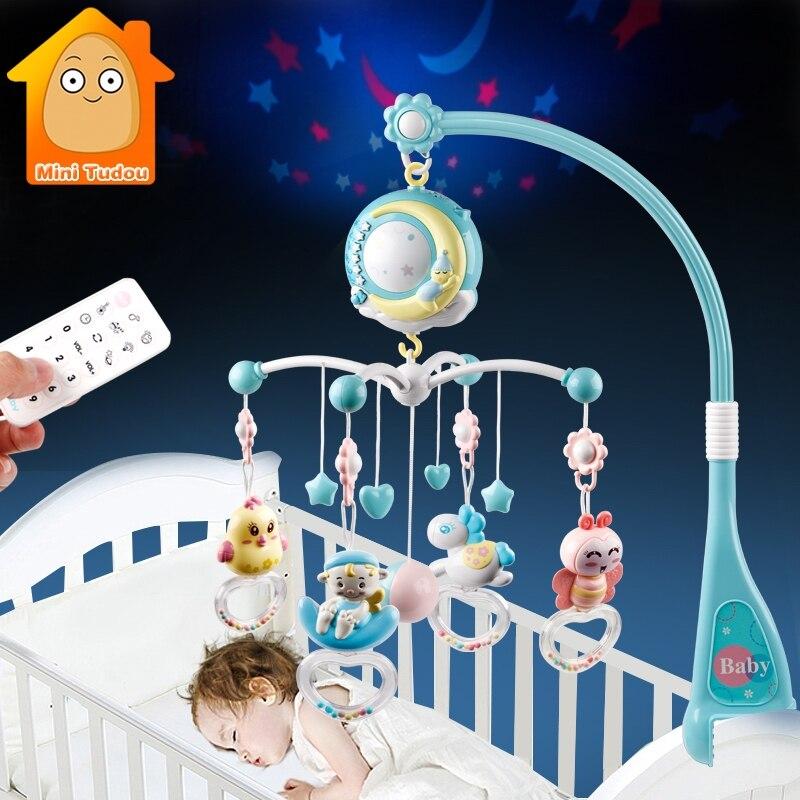 Chocalhos do bebê berço celulares brinquedo titular girando móvel cama sino musical caixa de projeção 0-12 meses recém-nascido bebê menino brinquedos