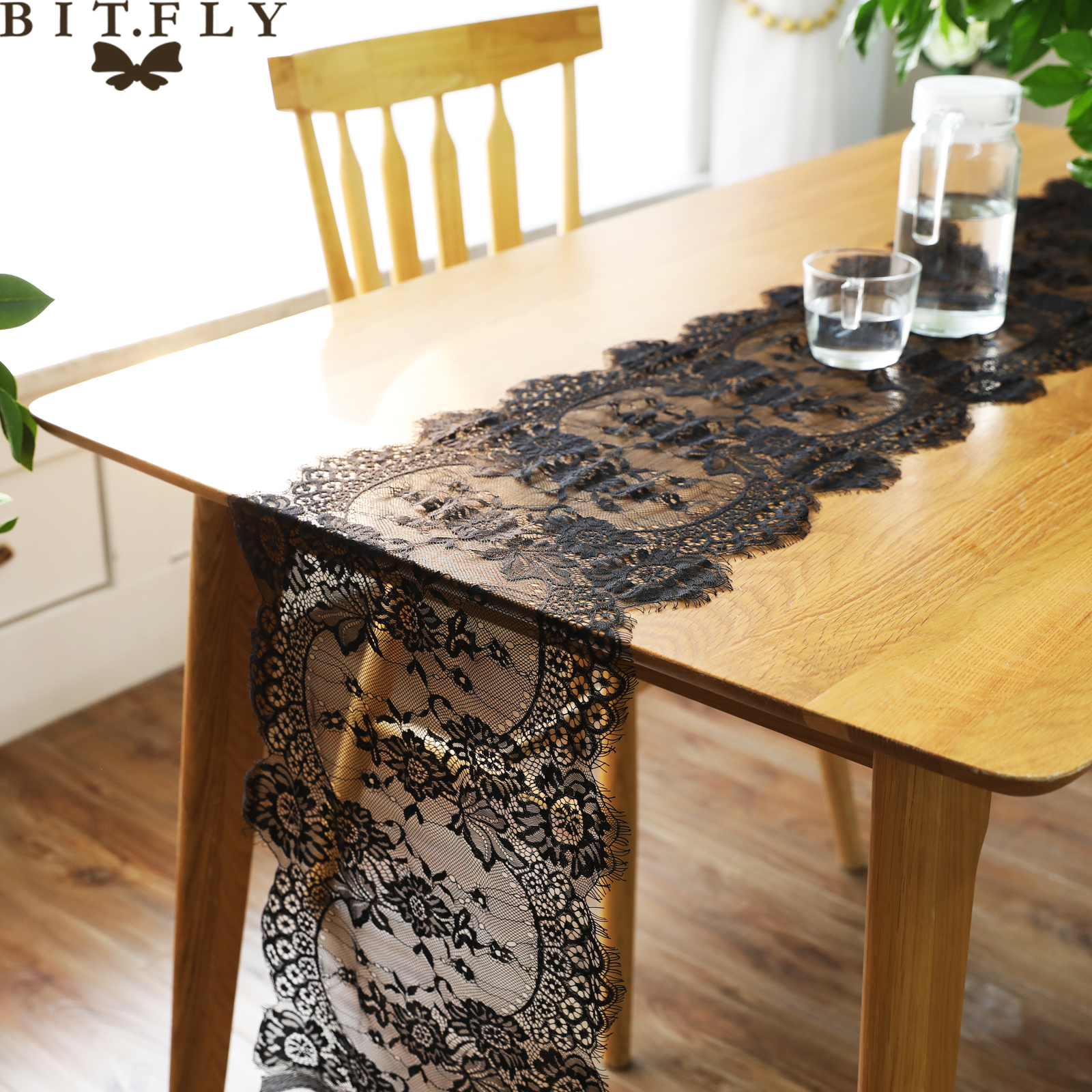 White Black Floral Lace Eyelash Table Runner Dinner Table Cover Decoration For Birthday Wedding Christmas Festival Party Supply