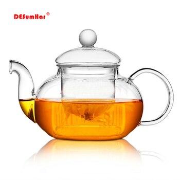 Высококачественный термостойкий стеклянный цветочный чайный горшок, практичная бутылка стеклянный чайный чайник с заваркой чайный лист т...