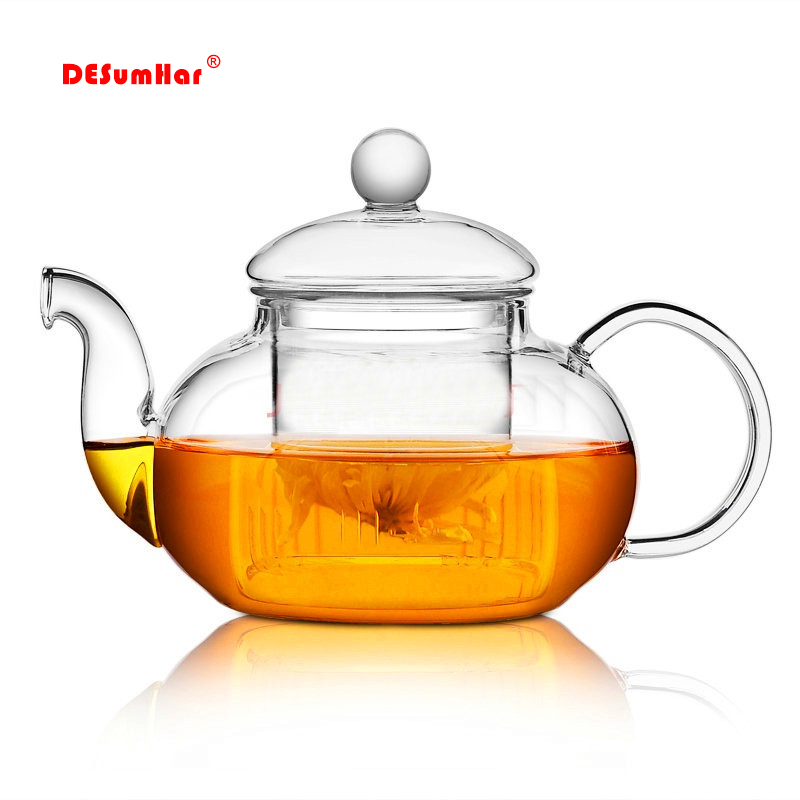 High quality Heat Resistant Glass Flower Tea Pot,Practical Bottle Flower TeaCup Glass Teapot with Infuser Tea Leaf Herbal Coffee