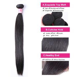 Image 5 - Przez proste wiązki z zamknięciem Meches Humaines Cheveux peruwiański włosów 3 wiązki z zamknięciem 1/2 sztuk Remy włosów ludzkich rozszerzenie