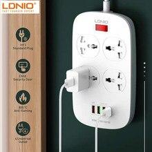 LDNIO ab abd İngiltere 2500W elektrik soketi QC3.0 USB hızlı şarj evrensel uzatma güç şeridi 4 USB 10A çıkış 2M anahtarı