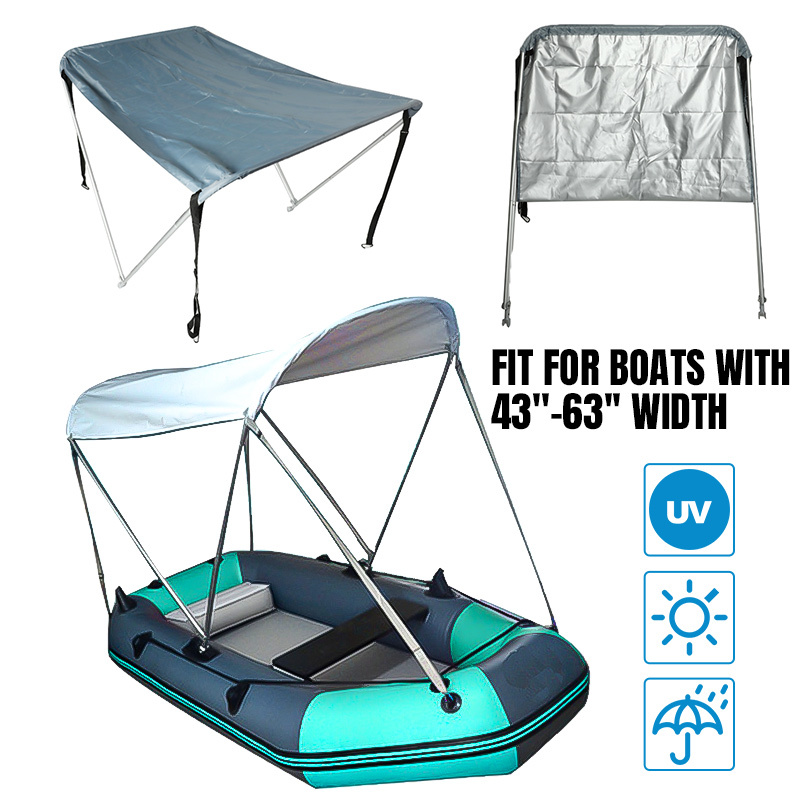 2 Bow Bimini Top 600D Waterproof Boat Cover Tent Yacht Surfing Kayak Canoe Sunshade Cover 160x110x120cm with Tubes/Boot/Hardware image