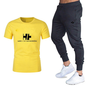 Cross Border Wholesale Men's Casual T-shirt Set Business Thin Loose Type Sports Cotton T-shirt Set Printed With S-2xl Casual Wea