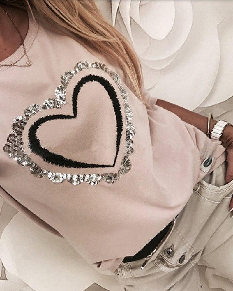 Женские футболки с расшитым блестками узором в виде сердца, весна 2020, повседневные женские футболки с длинным рукавом и круглым вырезом, мод...