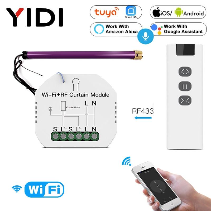 DIY RF433 WiFi Smart Curtain Switch Module Tuya Voice Wireless Control Electric Roller Blinds Shutter Motor Switch Breaker Alexa