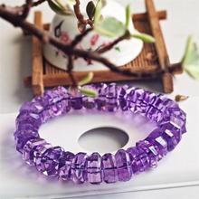 Натуральный Бразильский аметистовый кварцевый кристалл лаванды 14 мм, прозрачные граненые бусины, браслет для женщин и мужчин, модный сертификат AAAAA