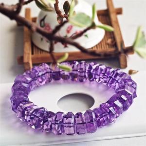 Image 1 - Натуральный Бразильский аметистовый кварцевый кристалл лаванды 14 мм, прозрачные граненые бусины, браслет для женщин и мужчин, модный сертификат AAAAA