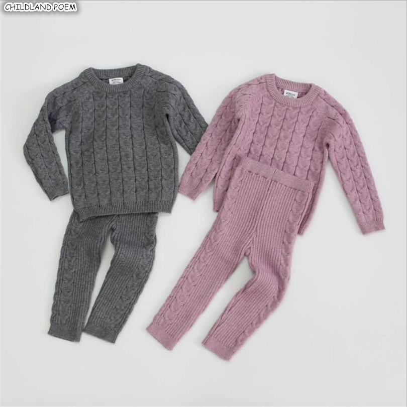 Knitted Baby Clothes Autumn Winter Baby Clothing Set Woolen Kids Todder Baby Boy Clothes Baby Sweater + Pants Baby Girls Clothes