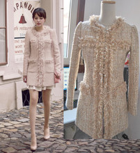 New Tweed Wool Powder GOLD SEQUIN chain brushed long coat(China)
