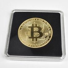 Banhado a ouro físico bitcoin casascius bitcoin btc bit moeda litecoin ripple eth coleção de arte transparente acrílico packag moeda