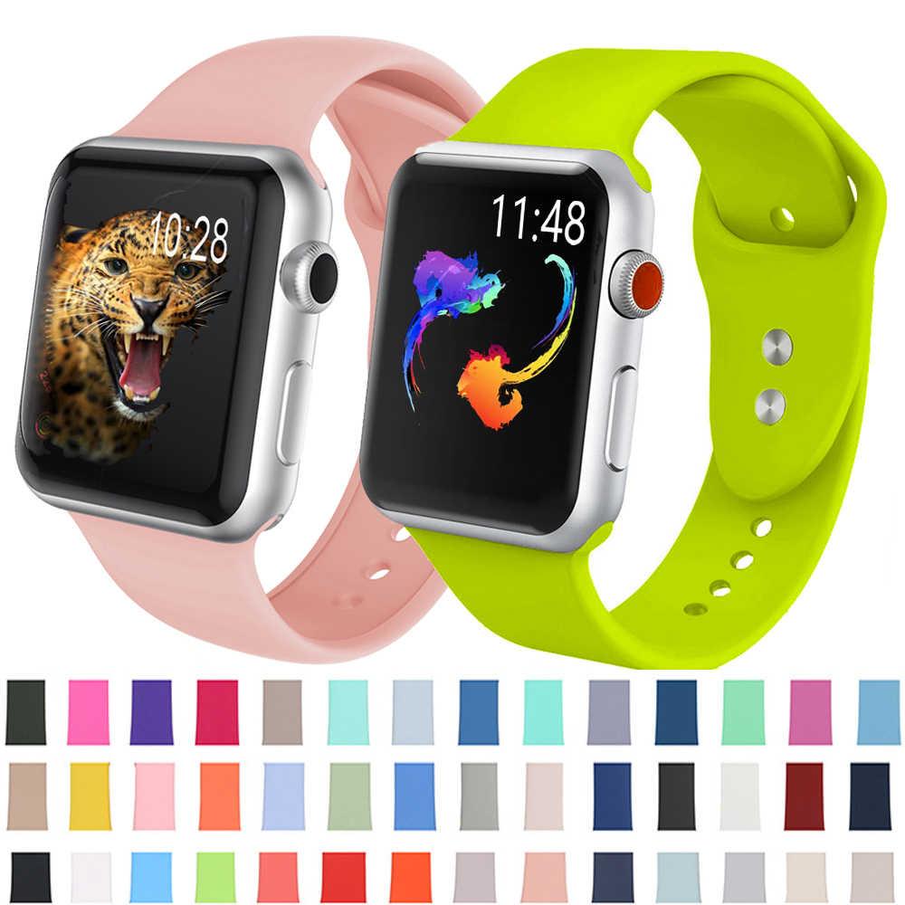 Yumuşak silikon watch band için Apple watch için 5 4 3 2 1 Band 42mm 38mm yerine bilezik kayışı watchband 44mm iwatch 4 3 2 1 40mm bant