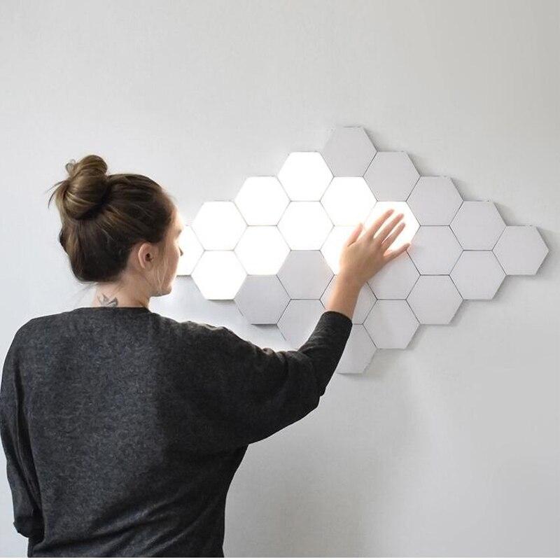 NEW 16PCS Touch Sensitive Lighting Lamp Hexagonal Lamps Quantum Lamp Modular LED Night Light Hexagons Creative Decoration Lamp