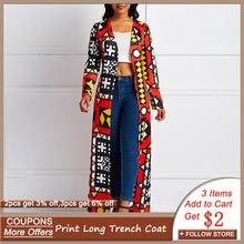 Женское длинное пальто с этническим принтом в африканском стиле;