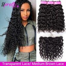 Upretty волосы волнистые пряди с фронтальной бразильской влажной и волнистой пряди человеческих волос с HD прозрачной кружевной фронтальной за...