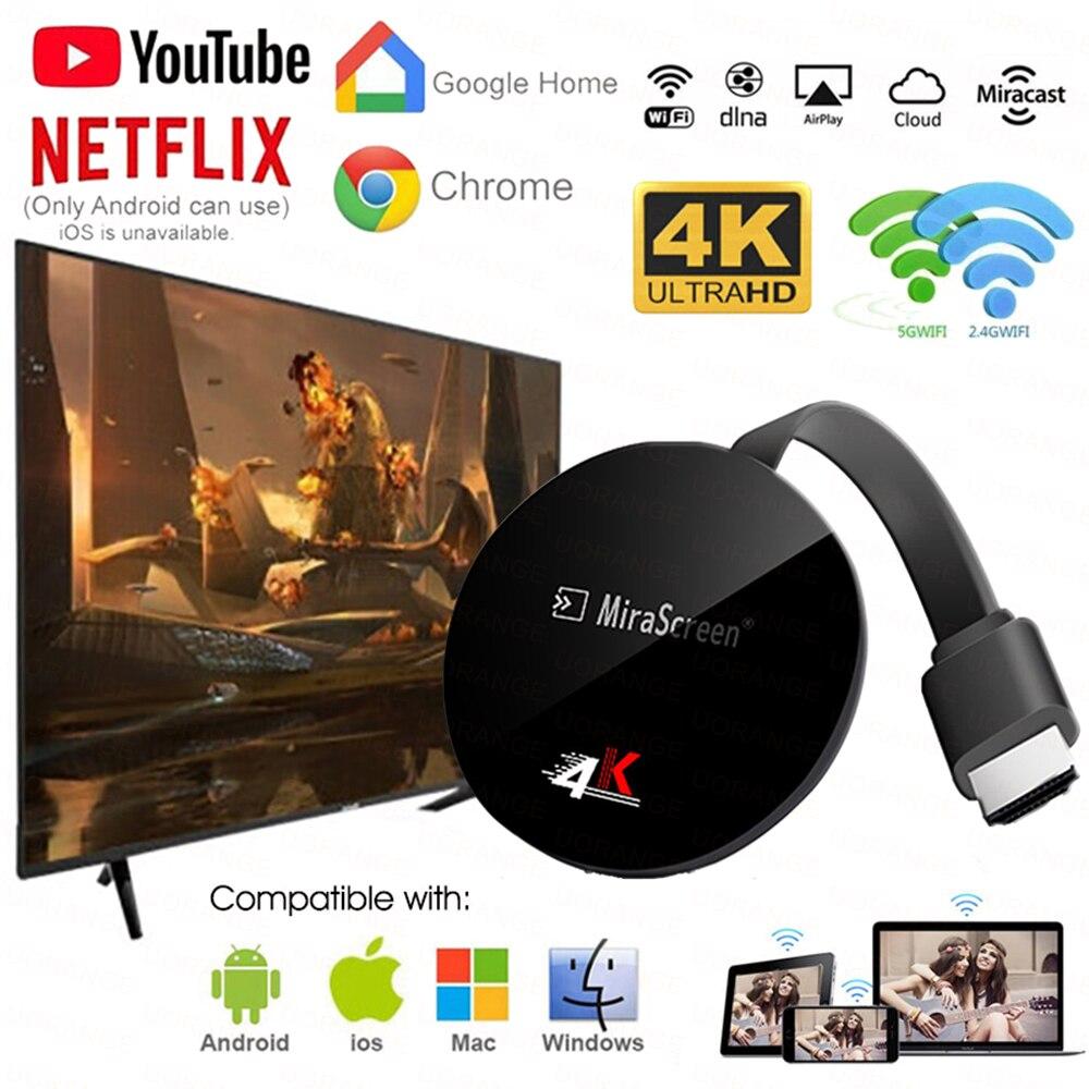 Mirascreen TV Stick Miracast Airplay inalámbrica WiFi de 5Ghz pantalla para google chromecast ultra 4K anycast HDMI Dongle para netflix Nuevo reemplazo Control remoto N2QAYB001008 RC1008 para Panasoni TV LCD LED controlador con NETFLIX