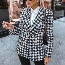 Женские твидовые куртки модные офисные женские черные с кисточками гусиные лапки пальто женские осенние винтажные толстые клетчатые пальто для девушек шикарные