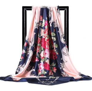 Image 5 - 2020 실크 스카프 여성 90cm 스퀘어 Headscarf 부드러운 목도리 이슬람 여성 스카프 office ladies 머플러 foulard beach bandanna hijab