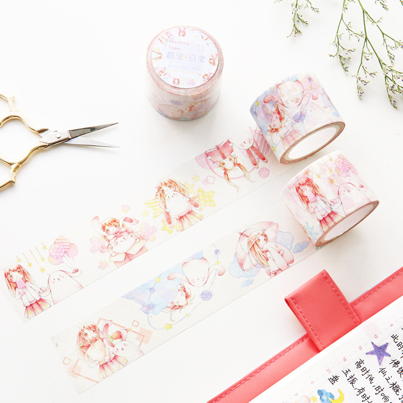 1 Pcs/lot DIY Cartoon Paper Washi Masking Tapes Cartoon Girls Decorative Adhesive Tape Stickers/School Supplies 30mm*8M