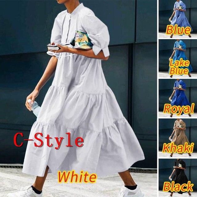 Летнее платье винтажное сексуальное платье до середины икры с рукавами-фонариками VONDA 2020 женский сарафан повседневное богемное пляжное платье размера плюс 5