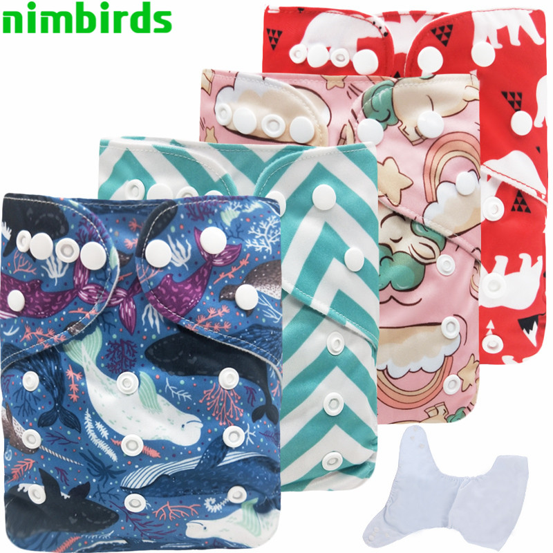 Baby Reusable Cloth Diaper Waterproof Printed Diapers One Size Pocket Baby Nappies Suede Cloth Inner Diaper Cover For 3-15kg