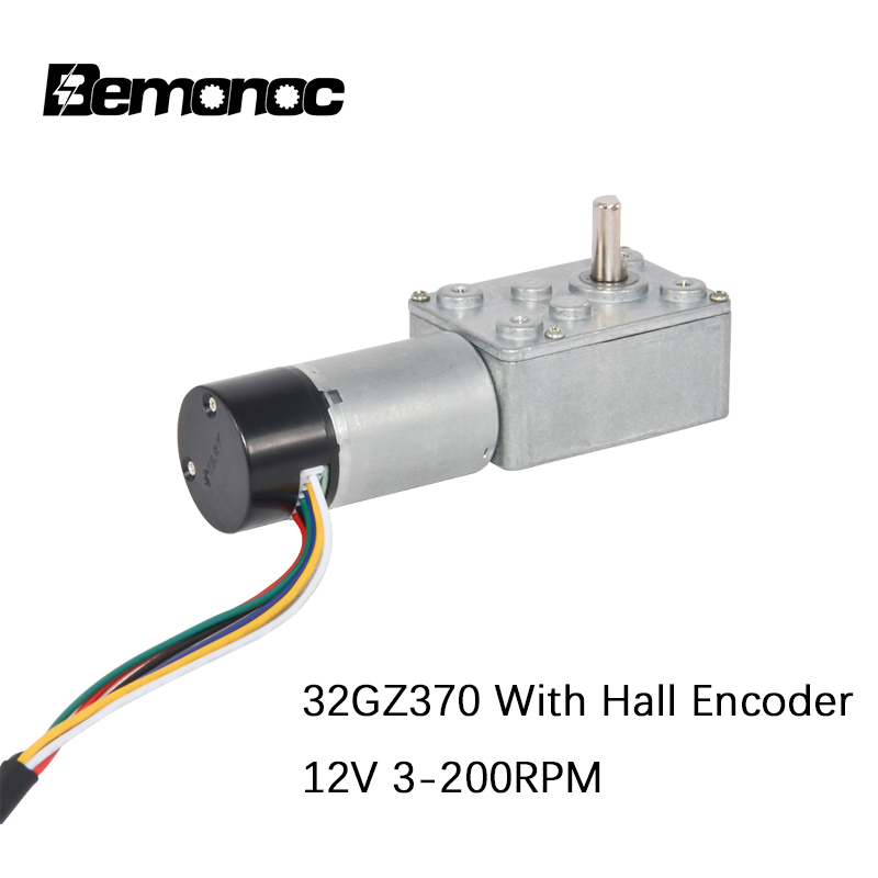 Bemonoc 370 DC <font><b>Gear</b></font> <font><b>Motor</b></font> <font><b>12V</b></font> 3-200Rpm With Hall <font><b>Encoder</b></font> High Torque DC Electric Worm <font><b>Gear</b></font> Hall <font><b>Encoder</b></font> <font><b>Motor</b></font> With Dust Cover image