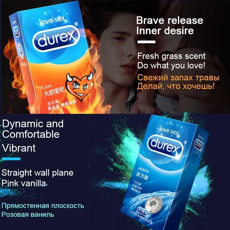 Durex Kondome 32 teile/schachtel Natürliche Latex Glatte Geschmiert Empfängnisverhütung 4 Arten Kondome für Männer Sex Spielzeug Produkte Großhandel