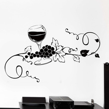 Glass of Wine Vine Grape Vinyl Wall Decal Home Decor Kitchen Bar Art Mural Wall Stickers Removable for Wall Pattern  3523 недорого