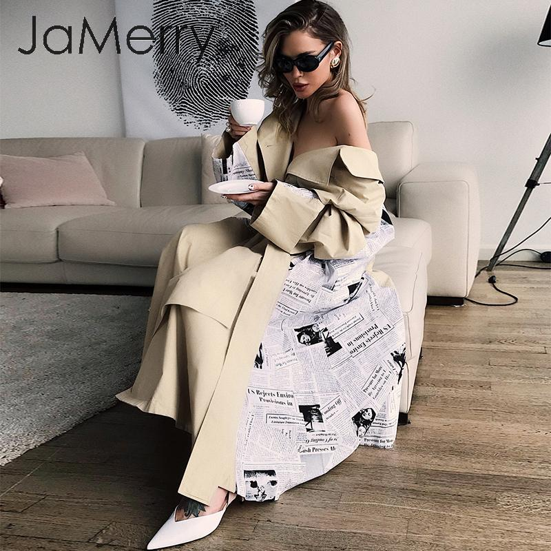 JaMerry Vintage Turn Down Collar Women Trench Coat Patchwork Print Autumn Winter Female Coat Sash Belted Pockets Long Overcoat
