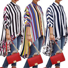 Womens Autumn Blouse Tops Long Sleeve Autumn Casual Jumper striped Ladies Top