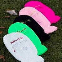 Balaclava Armee Taktische Maske 3 Loch Volle Gesicht Maske Ski Winter Hut Halloween Party Balaclava Radfahren Maske Begrenzte Stickerei