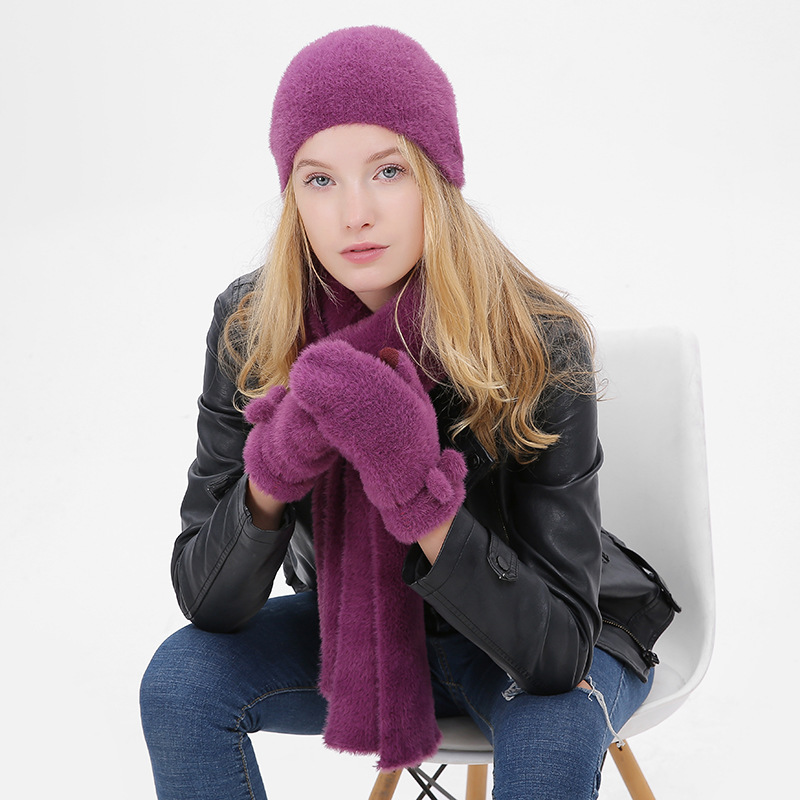 Long Hari Winter Hat And Scarf Glove Set For Women Classic Thicken Wool Kitted Hats And Scarves Winter Warm Bonnet Beanie Caps
