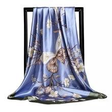 Женский шелковый шарф с принтом, 90*90 см