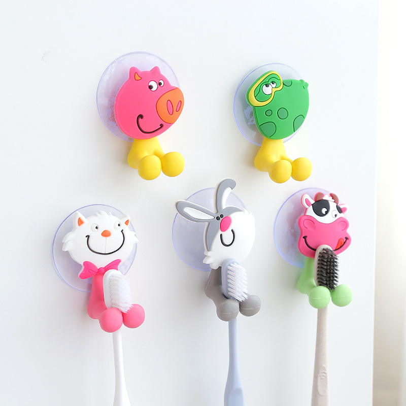 3pc Creative Cute Cartoon Animal Family Strong Suction Cup Toothpaste Toothbrush Holder Rabbit Frog Cat Cow Toothbrush Holder image