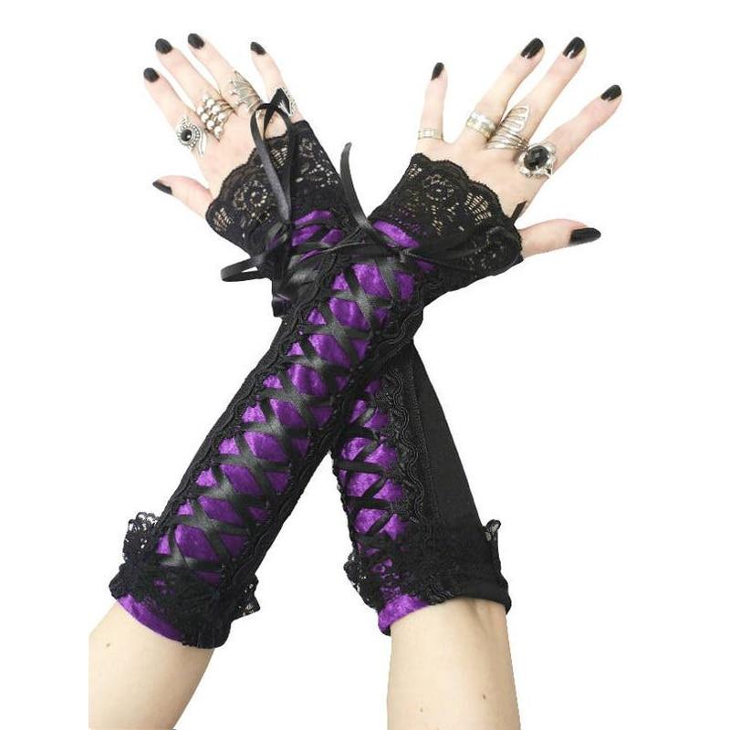 Imily Bela Gothic Arm Warmers Women Sleeves Bandage Lace Patchwork Arm Shaper Lace-up Mangas