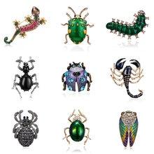 Broches en forme d'insecte, lézard, coccinelle, araignée, Gecko, strass Animal, en émail, pour femmes, filles, cadeau d'anniversaire, bijoux de Festival