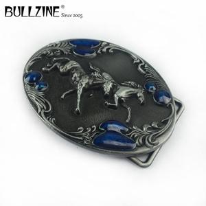 Image 5 - Bullzine batı çinko alaşım koşu at kemer tokası kalay kaplama FP 03388 kovboy kot hediye kemer tokası