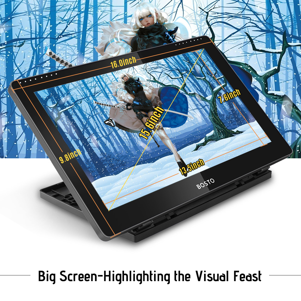 Image 3 - BOSTO BT 16HD IPS HD Graphic Monitor Drawing Digital Tablet Passive Technology USB Powered 8192 Pressure Level Pen TouchscreenDigital Tablets   -