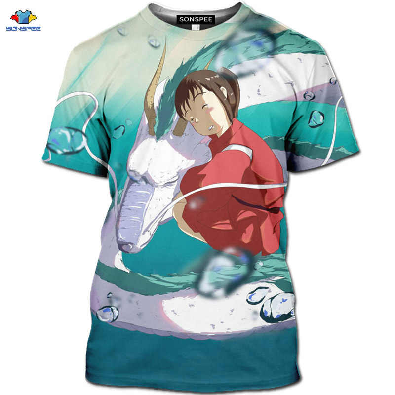 SONSPEE Neue 3D Hayao Miyazaki Anime Film Spirited Away T-Shirt Nette Tier Flying Dragon Männer der Hemd Kawaii Cartoon Maus tops
