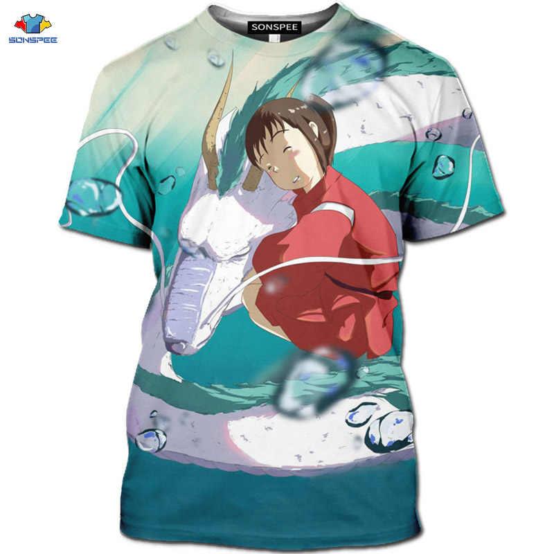 SONSPEE New 3D 미야자키 하야오 애니메이션 영화 치히로 떨어져 t 셔츠 귀여운 동물 플라잉 드래곤 남자 셔츠 카와이 만화 마우스 탑스