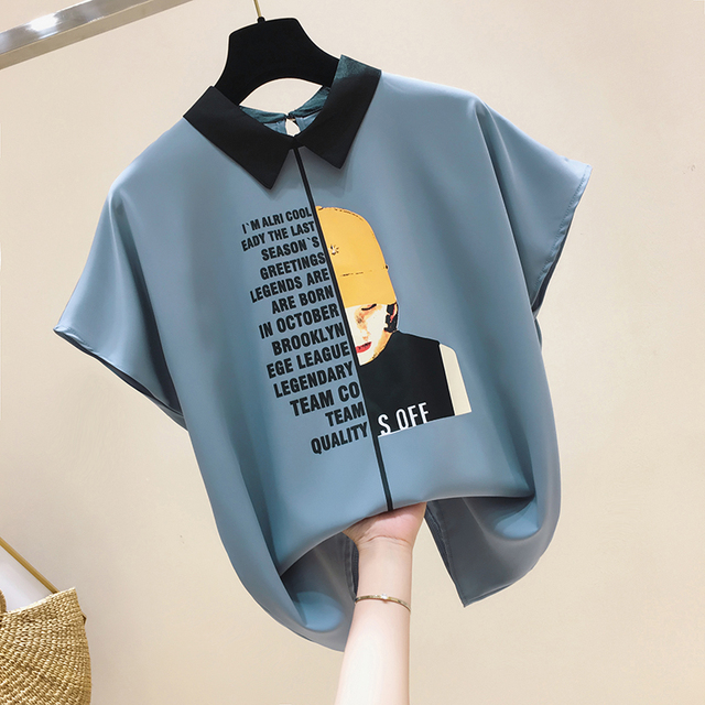 Womens For Blouses 2021 Ladies Tops Chiffon Blouse Short Blusas Feminina Shirts Batwing Sleeve Print Button Korean Clothing 0133 2