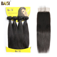 BAISI Hair Unprocessed 8A Brazilian Straight Virgin Hair 4 Bundles with Closure 100% Human Hair(China)
