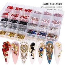 800-1000 sztuk mieszane kolorowe nie Hot Fix dżetów kryształ AB szkło Flatback Rhinestone kamienie DIY wystrój Nail Art Rhinestone