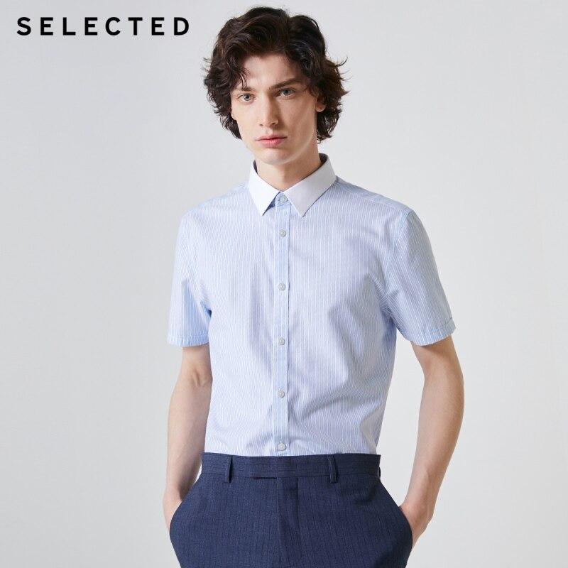SELECTED Men's Regular Fit Tencel Striped Short-sleeved Shirt T|419204567