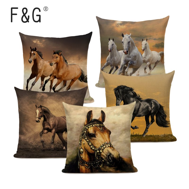 Running Horses Cushion Cover Tropical Style Linen Cotton Printing Throw Pillow Covers 45Cmx45Cm Square Home Decor Pillow Case