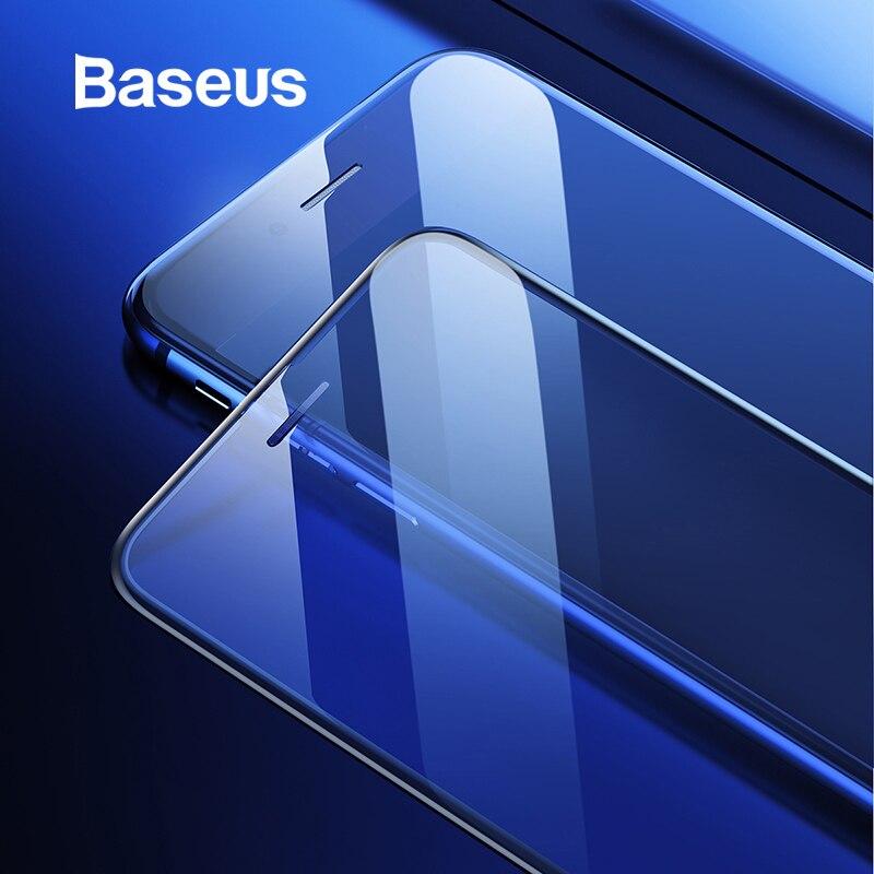 Baseus 0.3mm fino vidro protetor de tela para iphone 7 8 6s cobertura completa 9 h vidro temperado para iphone x xs max