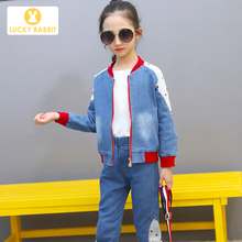 Girls Jean Jacket Baseball Demin Coat Western Cowboy Outfit Single