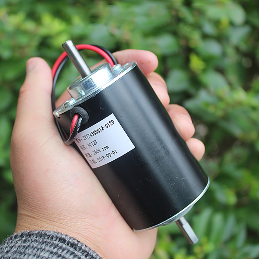 DC12V Dual Shaft DC Motor With Front & Rear Ball Bearings, 2900 Rpm, High-speed Motor Forward And Reverse Permanent Magnet Motor