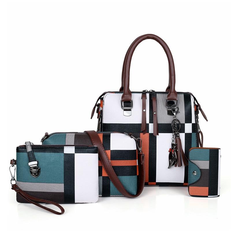 DAHOOD Luxury Handbags 2020 New 4 PCS Set Women Plaid Pattern Handbag Female Shoulder Bag Travel Shopping Ladies Crossbody Bag